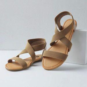 Shoes - Tan Wide Ankle Elastic Strap Sandals